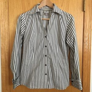 Vertical-Striped Button-Up